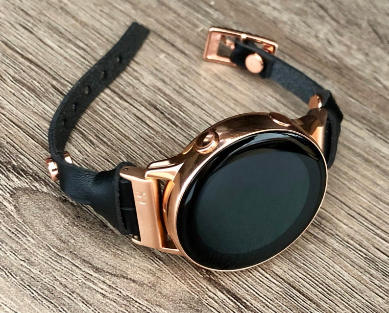 Women Rose Gold Galaxy Watch Active2 40mm Strap Band Black image 0