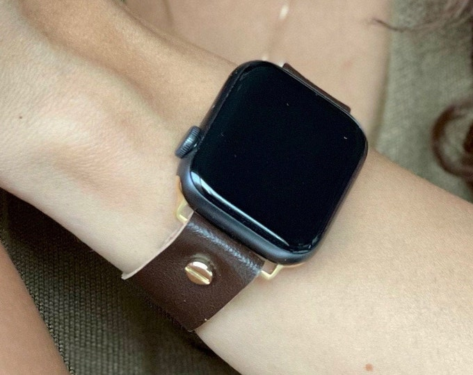 Women Apple Watch Band 41mm 40mm 45mm 44mm Brown Vegan Leather Apple Watch Bracelet Adjustable Apple Watch Wristband Gold Apple Watch Strap