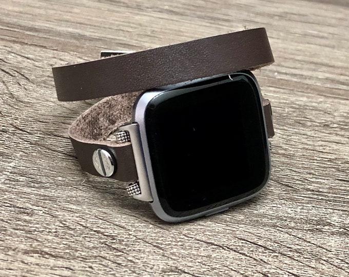 Dark Brown Leather Fitbit Versa Band Wrap Bracelet for Fitbit Versa Watch Adjustable Fitbit Versa Bracelet Soft Genuine Leather Band
