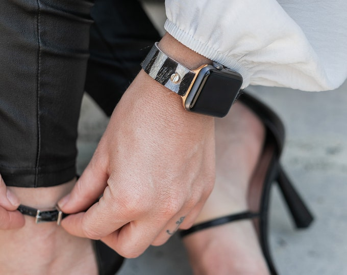Apple Watch Band 40mm 44mm Zebra Print Leather iWatch Bracelet Apple Watch 38mm 42mm Wristband Adjustable Women Boho Strap Gold Apple Watch