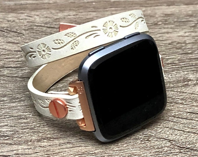 Women Fitbit Versa Band White Vegan Double Wrap Embossed Leather Strap Pink Rose Gold Fitbit Versa Bracelet Fitbit Versa Watch Jewelry