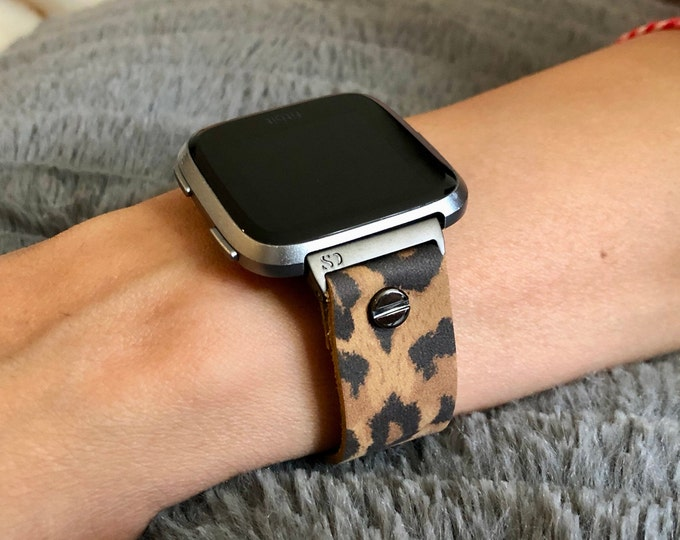 Leopard Print Leather Fitbit Versa 2 Band Fitbit Versa Lite Watch Strap Fitbit Versa Band Adjustable 18mm Leather Watch Wristband