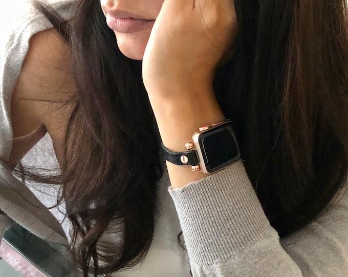 Rose Gold Apple Watch Bracelet 38mm 40mm 42mm 44mm Slim Black Leather Apple Watch Wristband Soft Grain Leather iWatch Bracelet