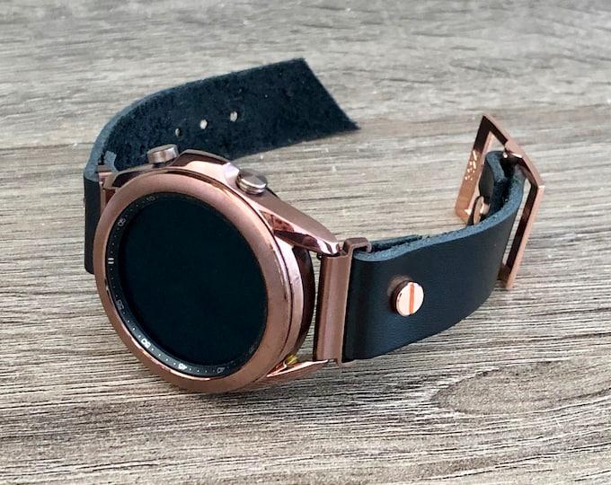 Samsung Galaxy Watch 3 Bracelet 41mm Watch Band Bronze Galaxy Watch 3 Cuff Band Genuine Black Leather Adjustable Strap Wristband