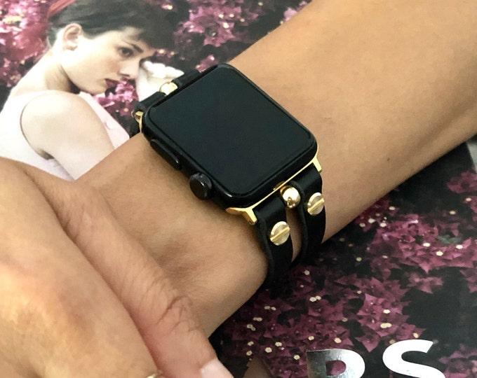 Gold Apple Watch Band 38mm 40mm 41mm 42mm 44mm 45mm iWatch Leather Bracelet Women Apple Watch Strap Apple Watch Wristband iWatch Jewelry