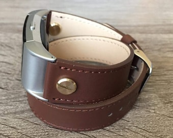 Brown Double Wrapped Eco Friendly Leather Bracelet For Fitbit Charge 2 With Gold Rivets Handmade Replacement Fitbit Charge 2 Band Gift