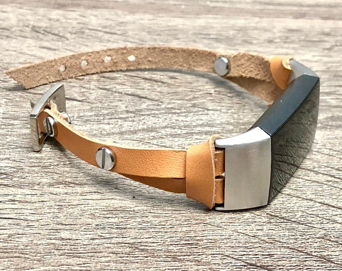 FITBIT CHARGE 3 Band Beige Leather Luxury Slim Fitbit Charge 3 Strap Bracelet Stainless Steel Fitbit Charge 3 Bracelet Wristband