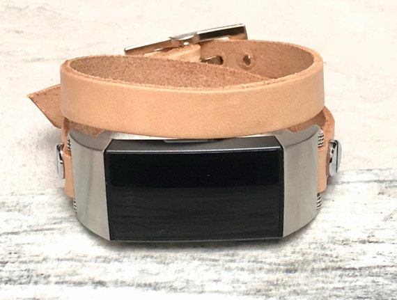 Bronze Brown Genuine Leather Band For Fitbit Charge 3 Handmade Double Wrap Adjustable Strap Fitbit Charge 3 Bracelet Stainless Steel Fitbit Charge 3 Leather Band for Women