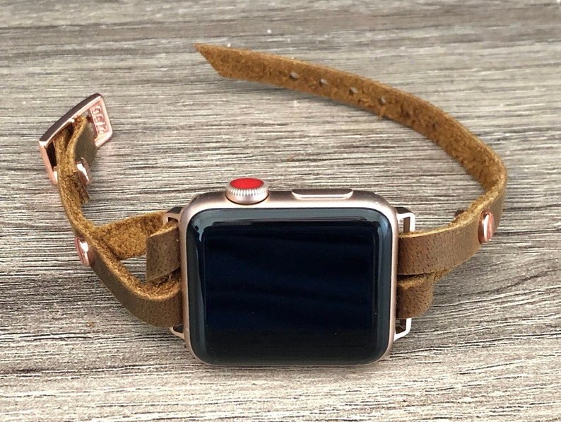 Boho Style Rustic Leather Apple Watch Band 38mm 40mm 42mm 44mm image 0