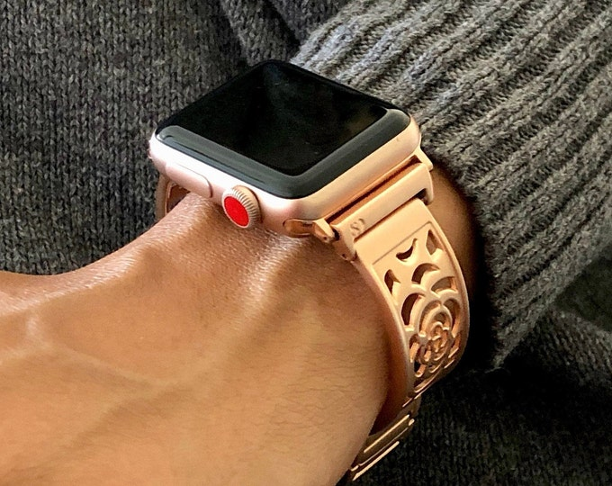 Apple Watch Band 38mm 40mm 42mm 44mm Women Rose Gold Bracelet iWatch Band Adjustable Apple Watch Bangle iWatch Band Jewelry