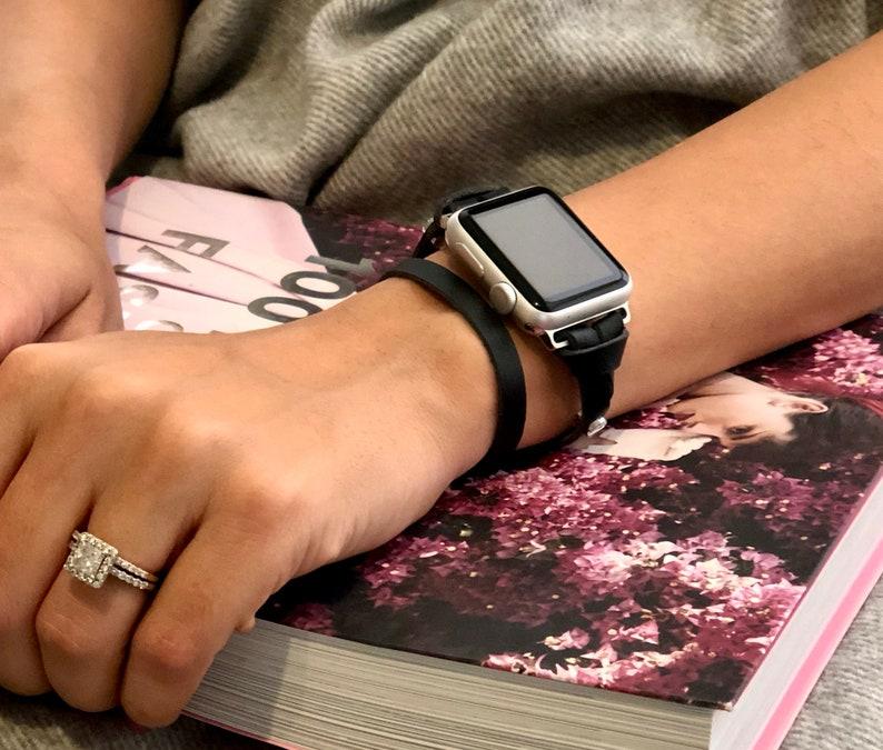 Women Apple Watch Strap Band 38mm 42mm iWatch Double Wrap Black Leather  Bracelet Silver Apple Watch Band Series 4 Bracelet 40mm 44mm
