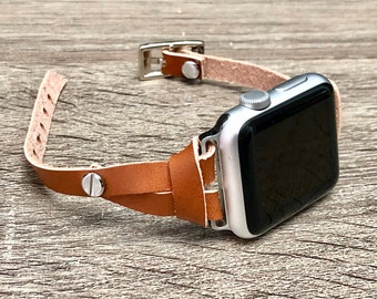 Bronze Leather Apple Watch Band Strap Elegant Slim iWatch Band, Adjustable Apple Watch Band 38mm 40mm 42mm 44mm, Women iWatch Strap