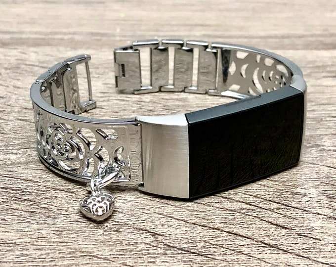 FITBIT CHARGE 3 Band, Flowers Design Silver Fitbit Bangle with Heart Medallion, Metal Fitbit Charge 3 Bracelet Women Fitbit Charge 3 Jewelry