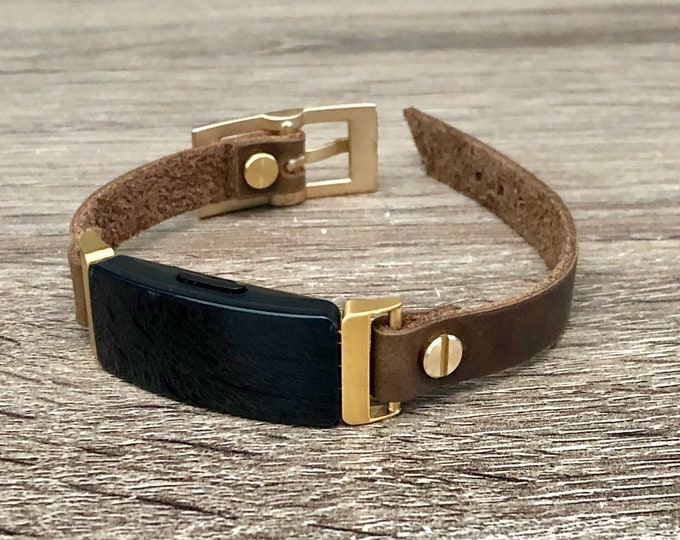 Fitbit Inspire 2 Band Gold & Leather Fitbit Inspire 2 Bracelet Boho Style Distressed Brown Leather Strap Fitbit Inspire 2 Wristband Jewelry