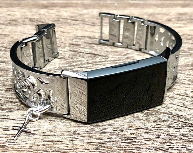 FITBIT CHARGE 4 Band Shiny Silver Adjustable Floral Design Fitbit Bangle with Elegant Cross Metal Fitbit Charge 4 Bracelet Jewelry for Women
