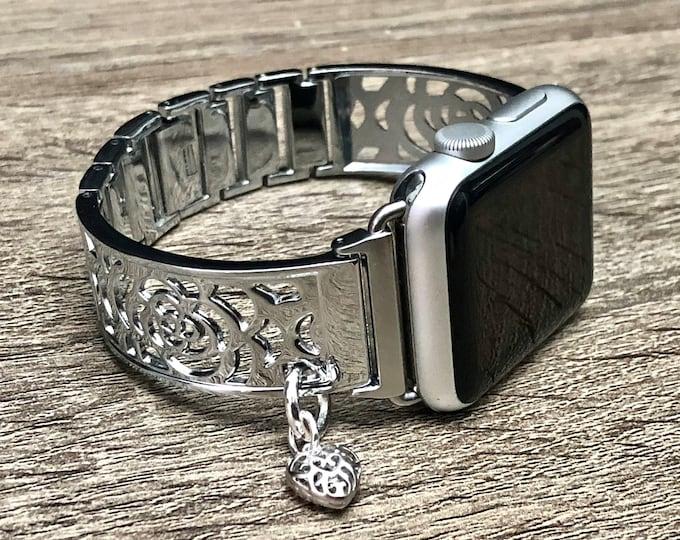 Silver Apple Watch Band 38mm 40mm 42mm 44mm Women iWatch Bracelet Adjustable Apple Watch Bracelet iWatch Band Jewelry Bangle Heart Medallion