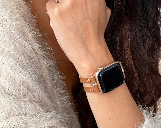 Light Brown Leather Apple Watch Band 38mm 40mm 42mm 44mm Rose Gold Apple Watch Strap Women iWatch Bracelet Jewelry Apple Watch Wristband