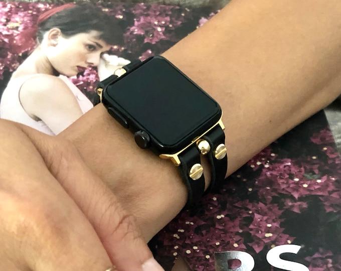 Gold & Black Leather Apple Watch Band 38mm 40mm 42mm 44mm iWatch Bracelet Women Apple Watch Double Straps Apple Watch Wristband Jewelry