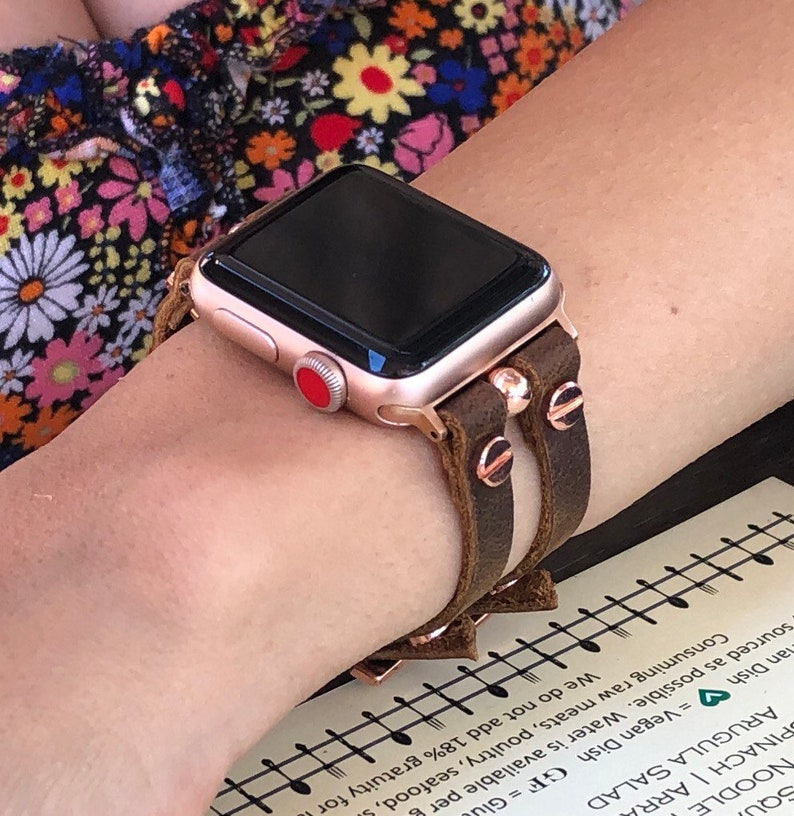 Apple Watch Band Women Style Rose Gold & Brown Leather Apple image 0