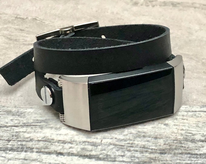 FITBIT CHARGE 3 Band Black Leather Double Wrapped Fitbit Charge 3 Strap Bracelet Stainless Steel Fitbit Charge 3 Leather Band for Women