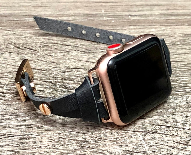 Apple Watch Band Rose Gold & Black Leather Apple Watch 38mm image 0