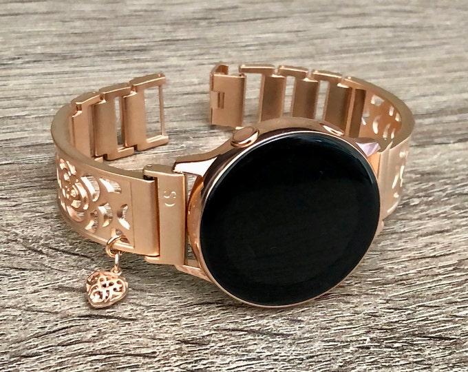 Samsung Galaxy Watch Band Rose Gold Bracelet Galaxy Watch Active Bangle 40mm Adjustable Rose Gold Wristband Pink Gold Galaxy Active 2 Band