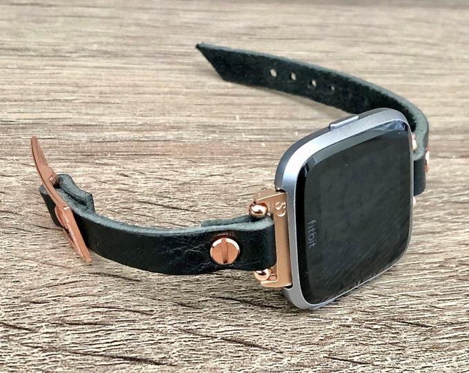 Black Leather Fitbit Versa 2 Watch Band Women Rose Gold Fitbit Versa Bracelet Slim Fitbit Versa Lite Strap Luxury Smart Watch Wristband