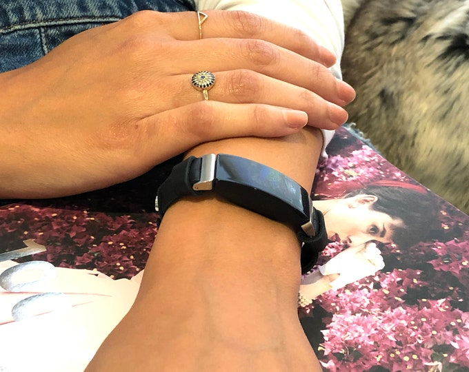 Fitbit Inspire HR Band Silver & Black Leather Fitbit Inspire Strap Adjustable Fitbit Inspire HR Wristband Women Fitbit Inspire Jewelry