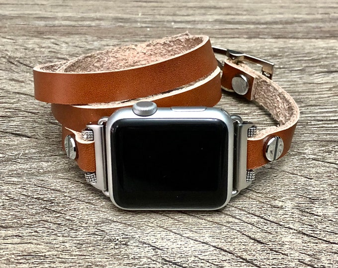 Leather Apple Watch Band 38mm 40mm 42mm 44mm Adjustable Apple Watch Bracelet Women iWatch Band Wristband Multi Wrapped Apple Watch Strap