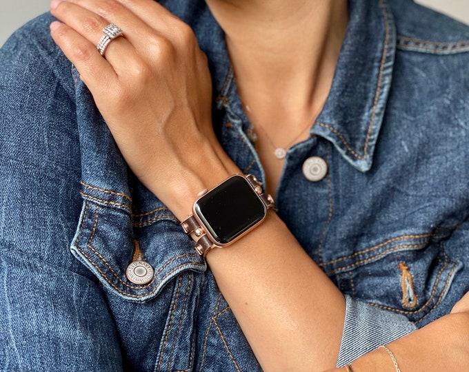 Dark Brown Apple Watch Band 38mm 40mm 42mm 44mm Rose Gold Apple Watch  Strap Women iWatch Leather Bracelet Apple Watch Wristband Cuff Band