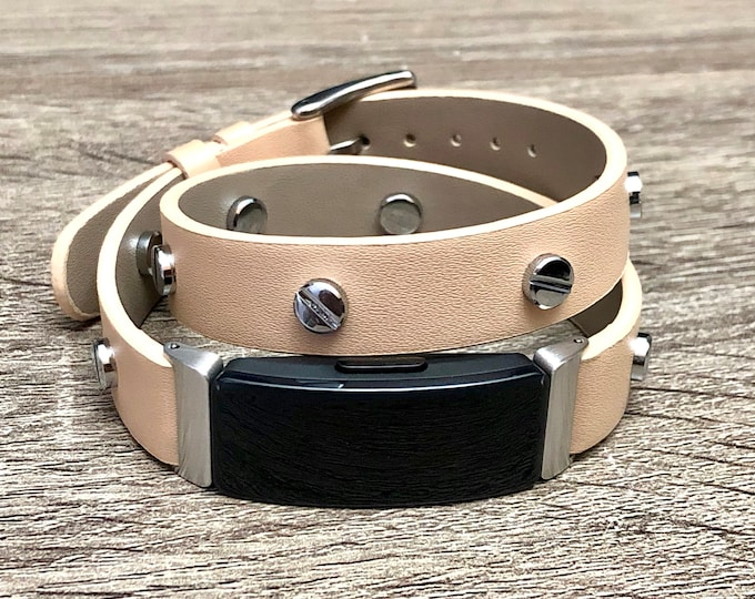 Beige Fitbit Inspire HR Band, Vegan Leather Fitbit Inspire HR Strap, Fitbit Inspire HR Bracelet, Adjustable Fitbit Inspire Wristband Jewelry