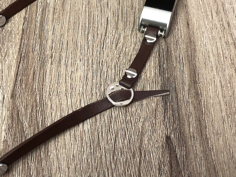 Brown Leather Anklet for Fitbit Charge 2 Activity Tracker Adjustable Handmade Multi Wrap Fitbit Charge 2 Band Anklet Silver Style Jewelry