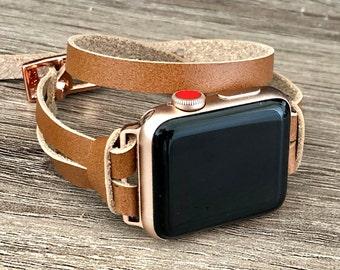 Rose Gold Apple Watch Band 38mm 40mm 41mm 42mm 44mm 45mm Light Brown Leather Apple Watch Strap Slim iWatch Bracelet Apple Watch Wristband