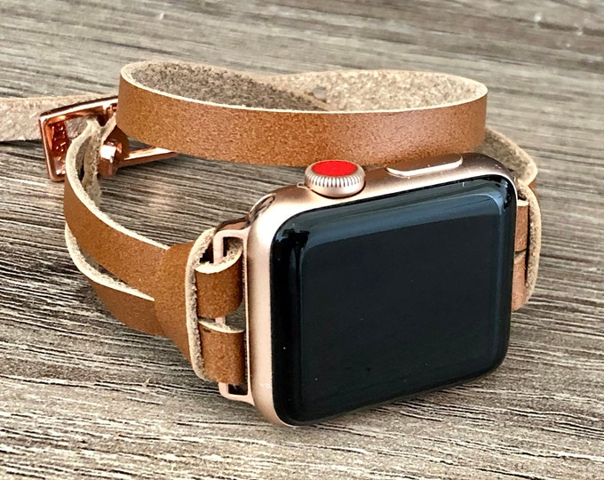 Rose Gold Apple Watch Band 41mm 45mm Light Brown Leather Apple Watch Strap Slim iWatch Bracelet Apple Watch Wristband Double Wrapped Band