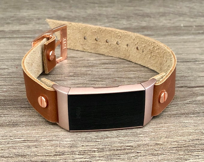 Rose Gold Fitbit Charge 3 Band Light Brown Leather Bracelet Women Fitbit Wristband High Quality Genuine Leather Strap Adjustable Size Band