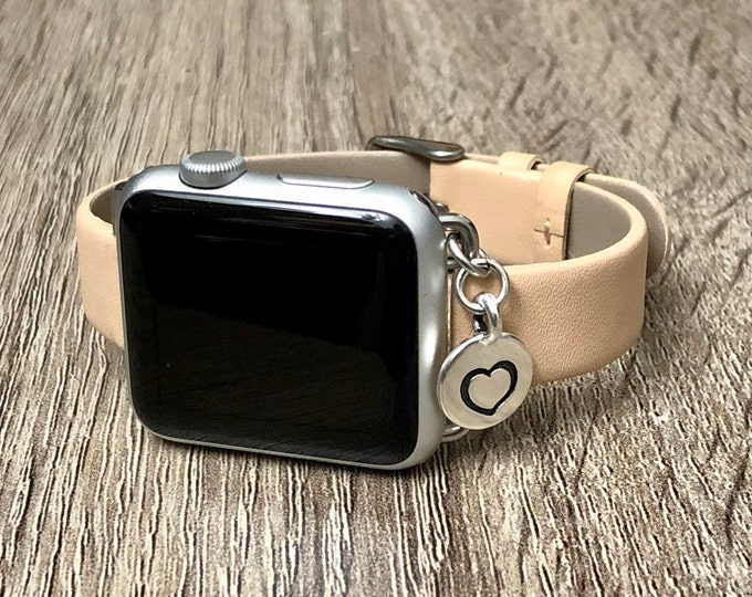 Tan Color Slim Vegan Leather Bracelet for Apple Watch All Series Handmade Silver Heart Charm Bracelet Adjustable Apple Watch Band Jewelry