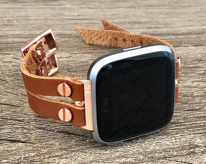 Leather Fitbit Versa 2 Band Rose Gold Fitbit Versa Watch Strap Double Straps Fitbit Versa Bracelet Jewelry Women Fitbit Versa Lite Wristband