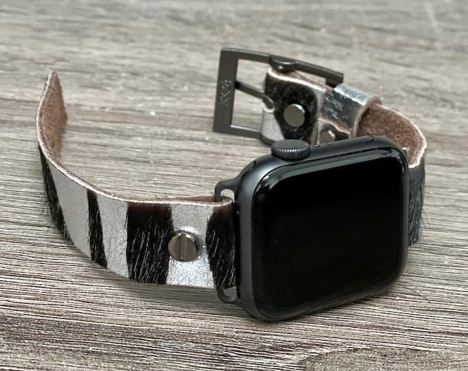 Zebra Print Leather Apple Watch Band 38mm 40mm 42mm 44mm Women Space Gray iWatch Bracelet Adjustable Wristband Genuine Leather Cuff Strap
