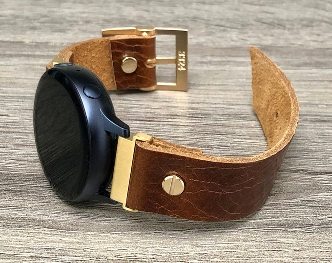 Leather Samsung Galaxy Watch Active 2 Band 40mm 44mm Samsung Galaxy Watch 42mm Strap Bracelet 20mm Cognac Brown Leather Watch Wristband
