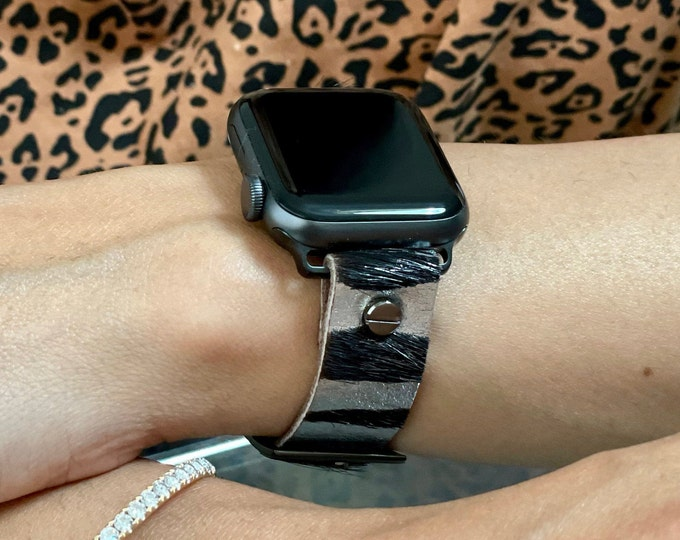 Zebra Print Apple Watch Band 38mm 40mm 42mm 44mm iWatch Strap Adjustable Apple Watch Wristband Genuine Leather Women Bracelet Jewelry