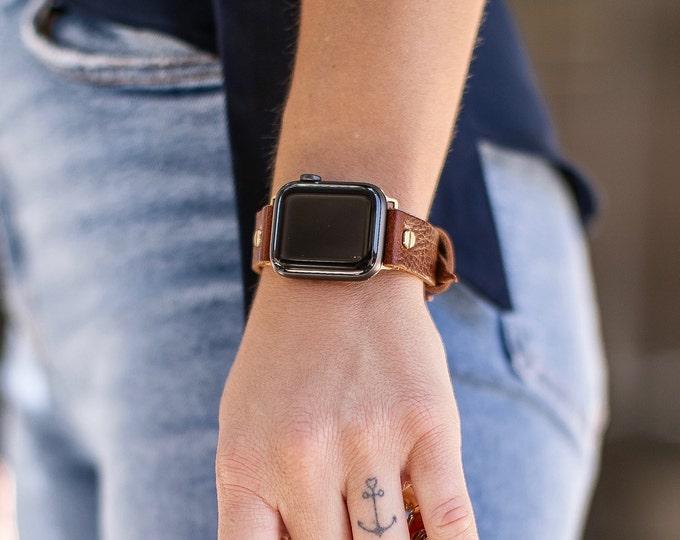 Caramel Brown Leather Apple Watch Band 38mm 40mm 42mm 44mm Gold iWatch Bracelet Adjustable Wristband Classy Women Apple Watch Strap Jewelry