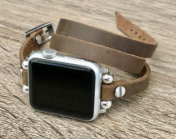 Vintage Leather Apple Watch Strap Bracelet for Women iWatch Band Apple Watch Band 38mm 40mm iWatch Strap Apple Watch 42mm 44mm Wrapped Band