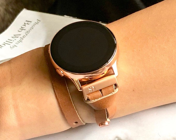 Rose Gold Galaxy Watch Active Band Double Wrap Light Brown Genuine Leather Strap Bracelet Samsung Watch Jewelry Band Galaxy Watch Wristband