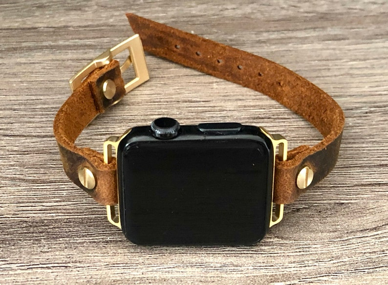 Apple Watch 38mm 40mm 42mm 44mm Band Vintage Leather & Yellow image 0
