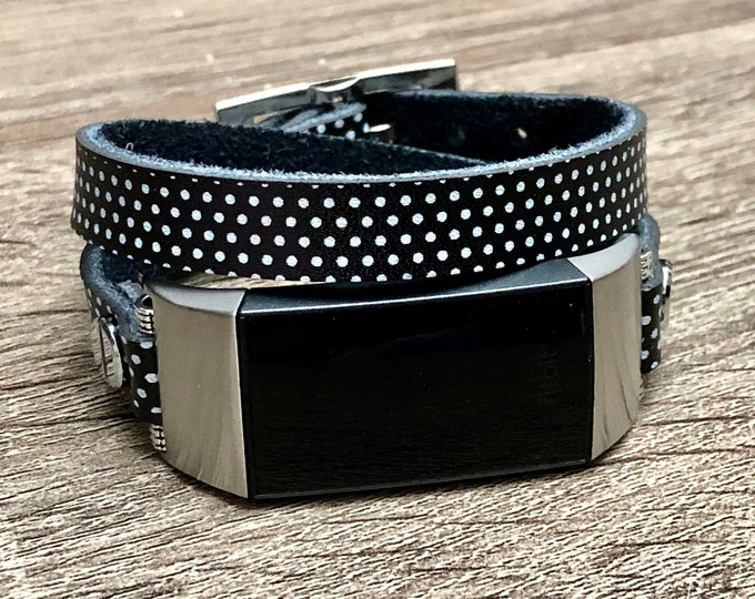 Fitbit Charge 4 Band Polka Leather Fitbit Charge 4 Bracelet Women Style Fitbit Charge 4 Strap Activity Leather Fitness Tracker Wristband