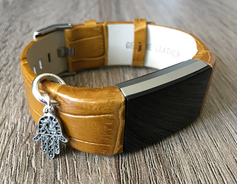 Vintage Brown Bracelet For Fitbit Charge 2 HR Activity Tracker Band Silver Hamsa Hand Star of David Religious Jewish Charm Bracelet Gift Mom