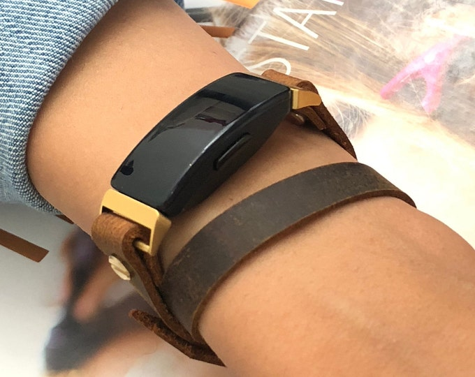 Leather Fitbit Inspire 2 Band Gold Fitbit Inspire 2 Bracelet Genuine Vintage Brown Leather Strap Fitbit Inspire 2 Wristband Jewelry