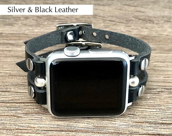 Apple Watch Band 38mm 40mm 41mm 42mm 44mm 45mm Black Leather Straps & Silver Apple Watch Bracelet Women iWatch Band Apple Watch Jewelry Band