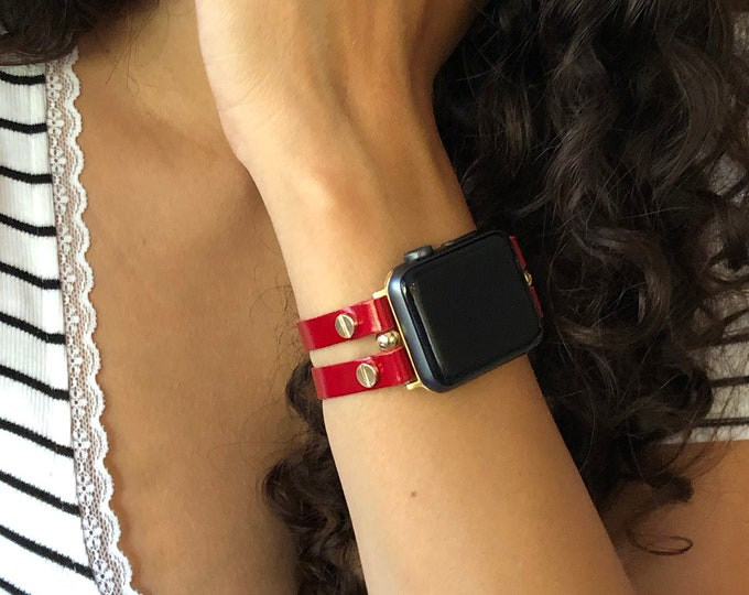Red Leather Apple Watch Band 38mm 40mm 42mm 44mm Women iWatch Bracelet Gold Apple Watch Wristband Double Straps iWatch Cuff Watch Strap