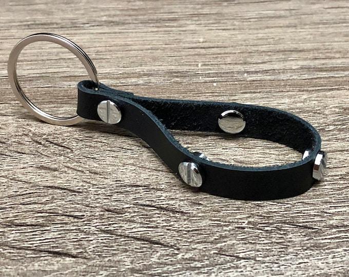Black Genuine Leather Keychain with Silver Jewelry Rivets Elegant Keychain Stylish Car Keychain Birthday Gift. Anniversary Gift.